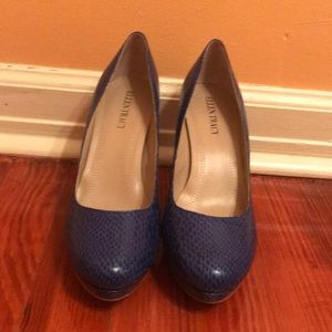 Ellen Tracy Blue Snake Heels
